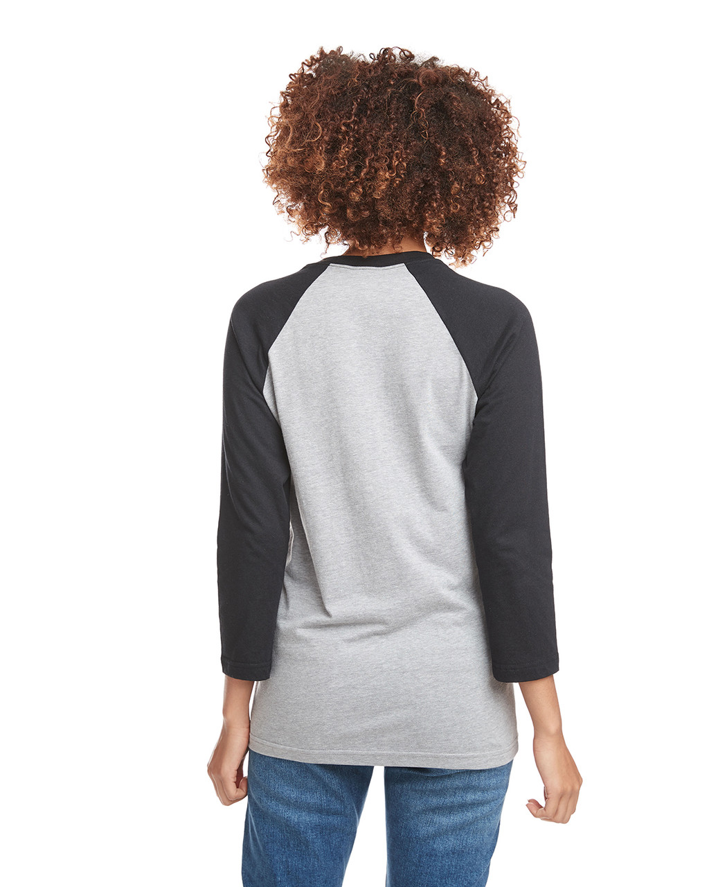 Black/Dark Heather Grey - Back, 6251 Next Level Unisex CVC 3/4 Sleeve Raglan Baseball T-Shirt | BlankClothing.ca