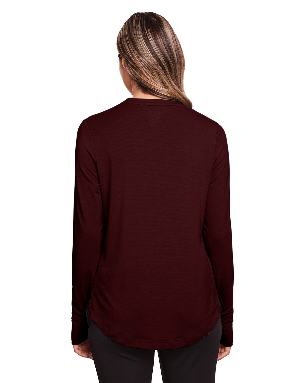 Burgundy - Back, NE400W North End Ladies' Jaq Snap-Up Stretch Performance Pullover Long Sleeve Shirt | BlankClothing.ca