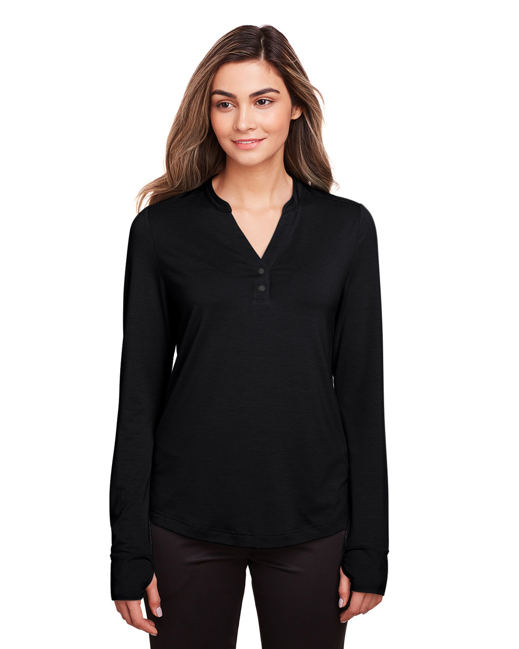 Black - NE400W North End Ladies' Jaq Snap-Up Stretch Performance Pullover Long Sleeve Shirt | BlankClothing.ca