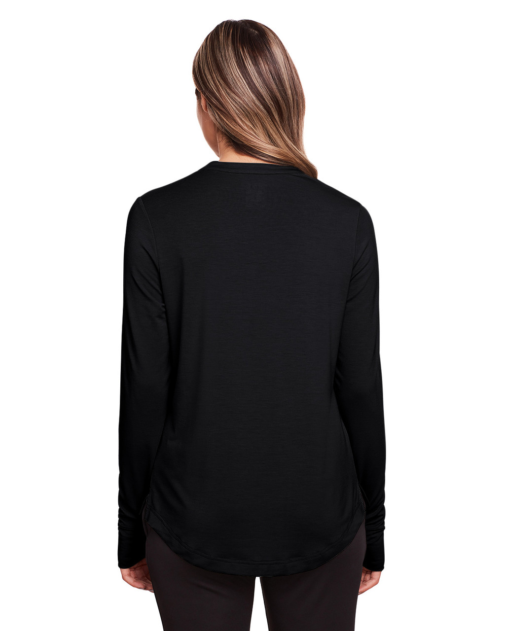 Black - Back, NE400W North End Ladies' Jaq Snap-Up Stretch Performance Pullover Long Sleeve Shirt | BlankClothing.ca