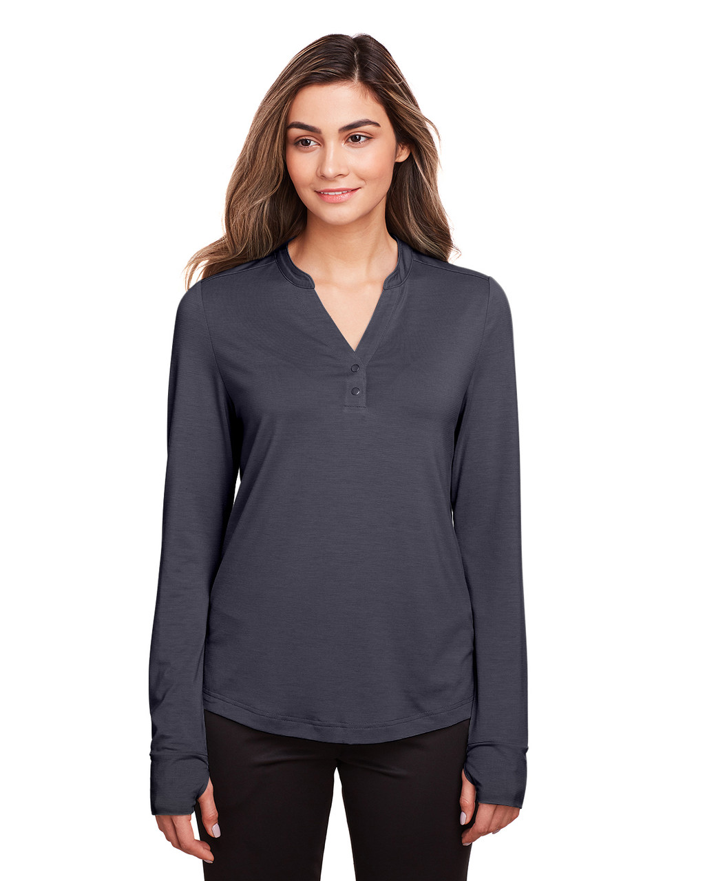 Carbon - NE400W North End Ladies' Jaq Snap-Up Stretch Performance Pullover Long Sleeve Shirt | BlankClothing.ca