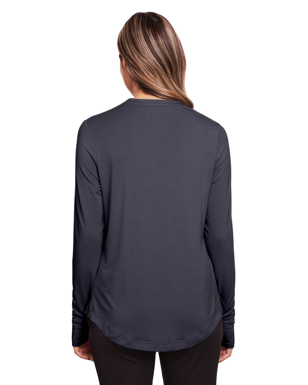 Carbon - Back, NE400W North End Ladies' Jaq Snap-Up Stretch Performance Pullover Long Sleeve Shirt | BlankClothing.ca
