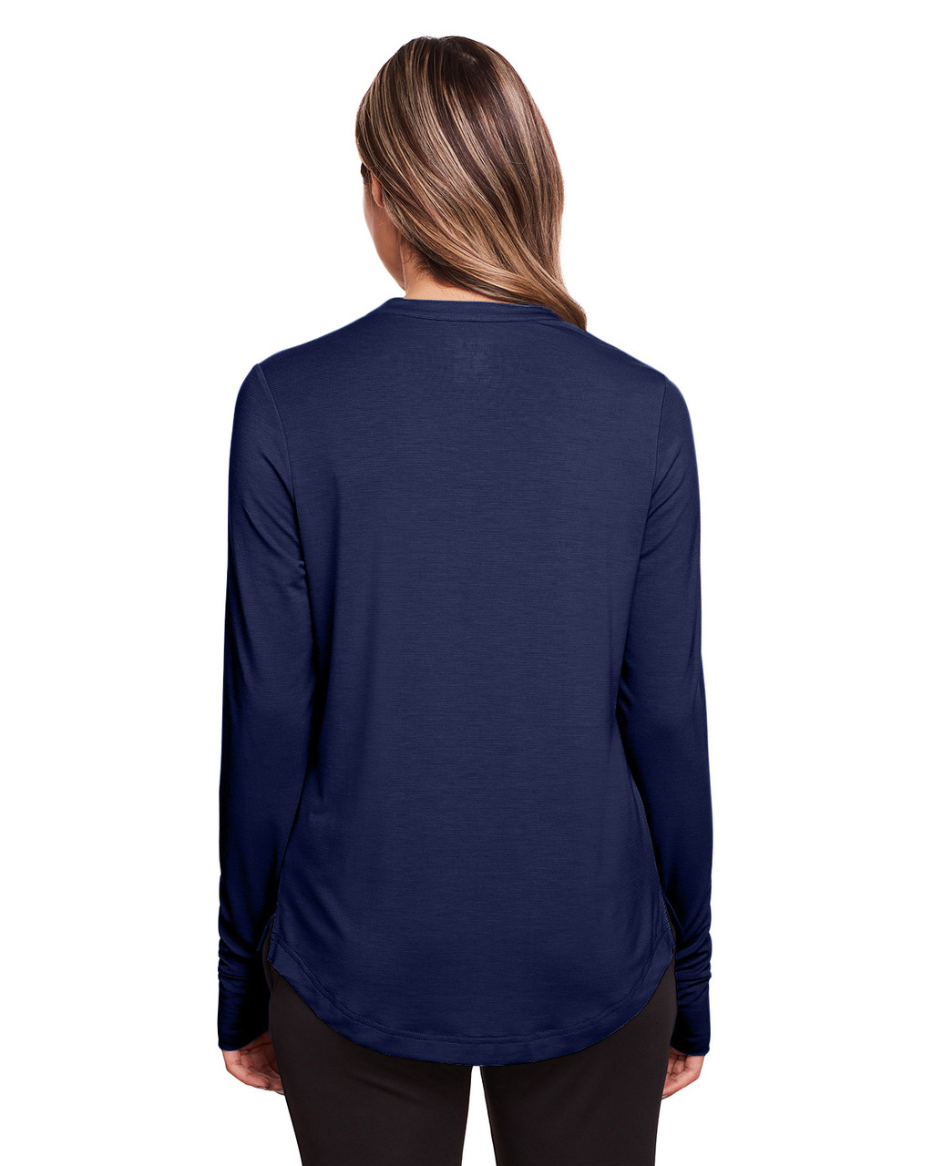 Classic Navy - Back, NE400W North End Ladies' Jaq Snap-Up Stretch Performance Pullover Long Sleeve Shirt | BlankClothing.ca