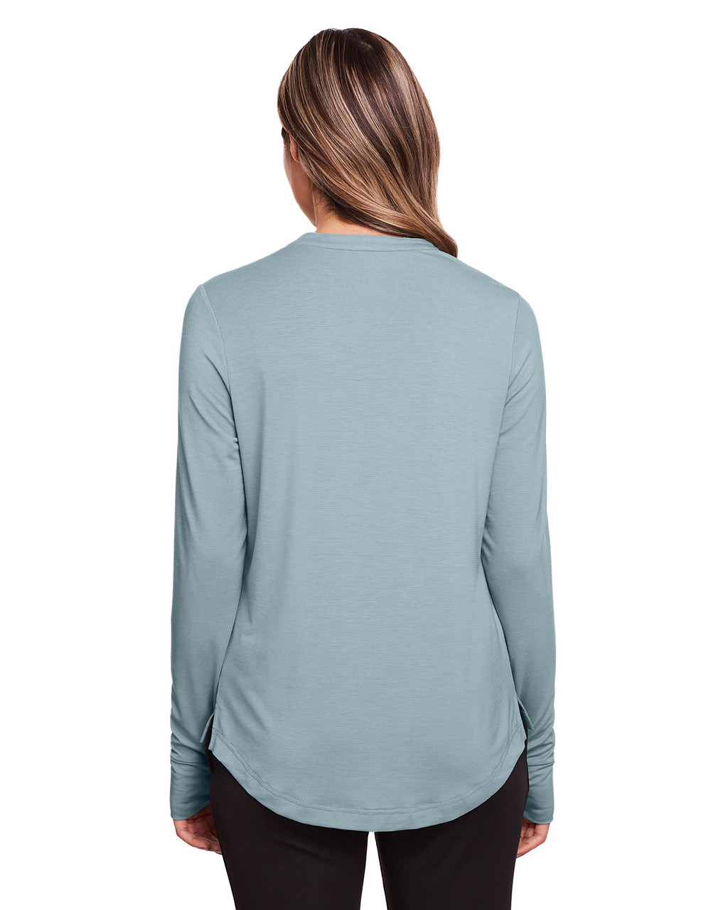 Opal Blue - Back, NE400W North End Ladies' Jaq Snap-Up Stretch Performance Pullover Long Sleeve Shirt | BlankClothing.ca