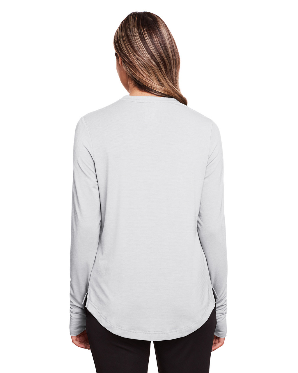 Platinum - Back, NE400W North End Ladies' Jaq Snap-Up Stretch Performance Pullover Long Sleeve Shirt | BlankClothing.ca