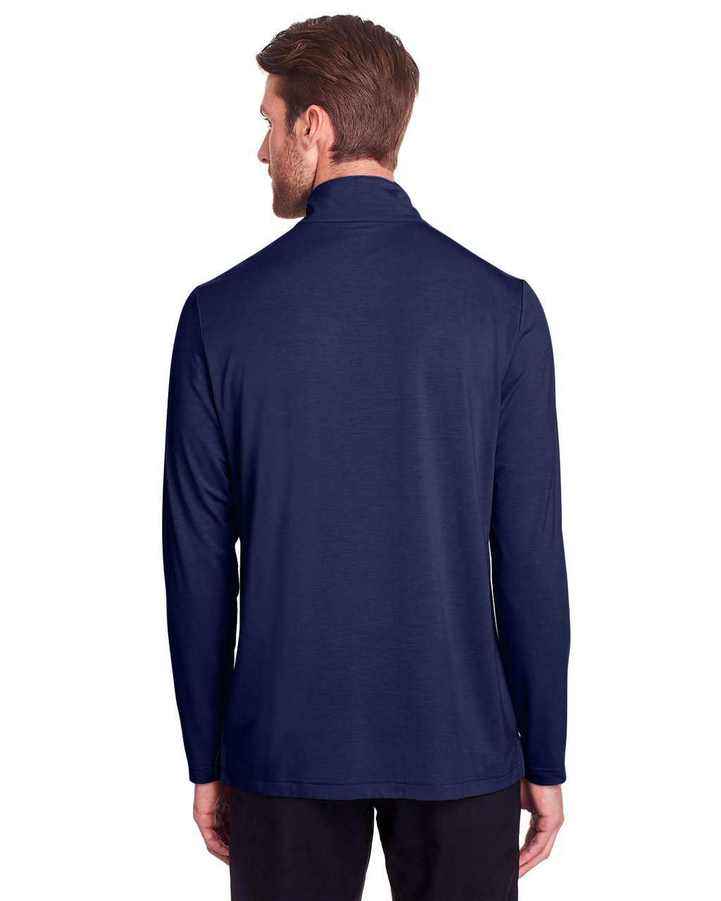 Classic Navy - Back, NE400 North End Men's Jaq Snap-Up Stretch Performance Pullover Long Sleeve Shirt | BlankClothing.ca
