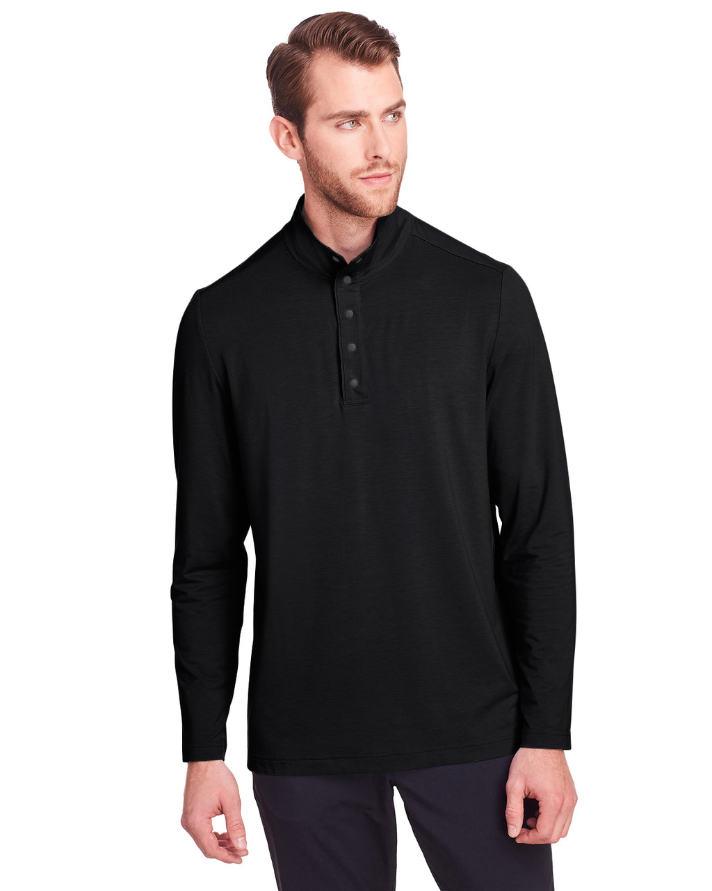 Black - NE400 North End Men's Jaq Snap-Up Stretch Performance Pullover Long Sleeve Shirt | BlankClothing.ca
