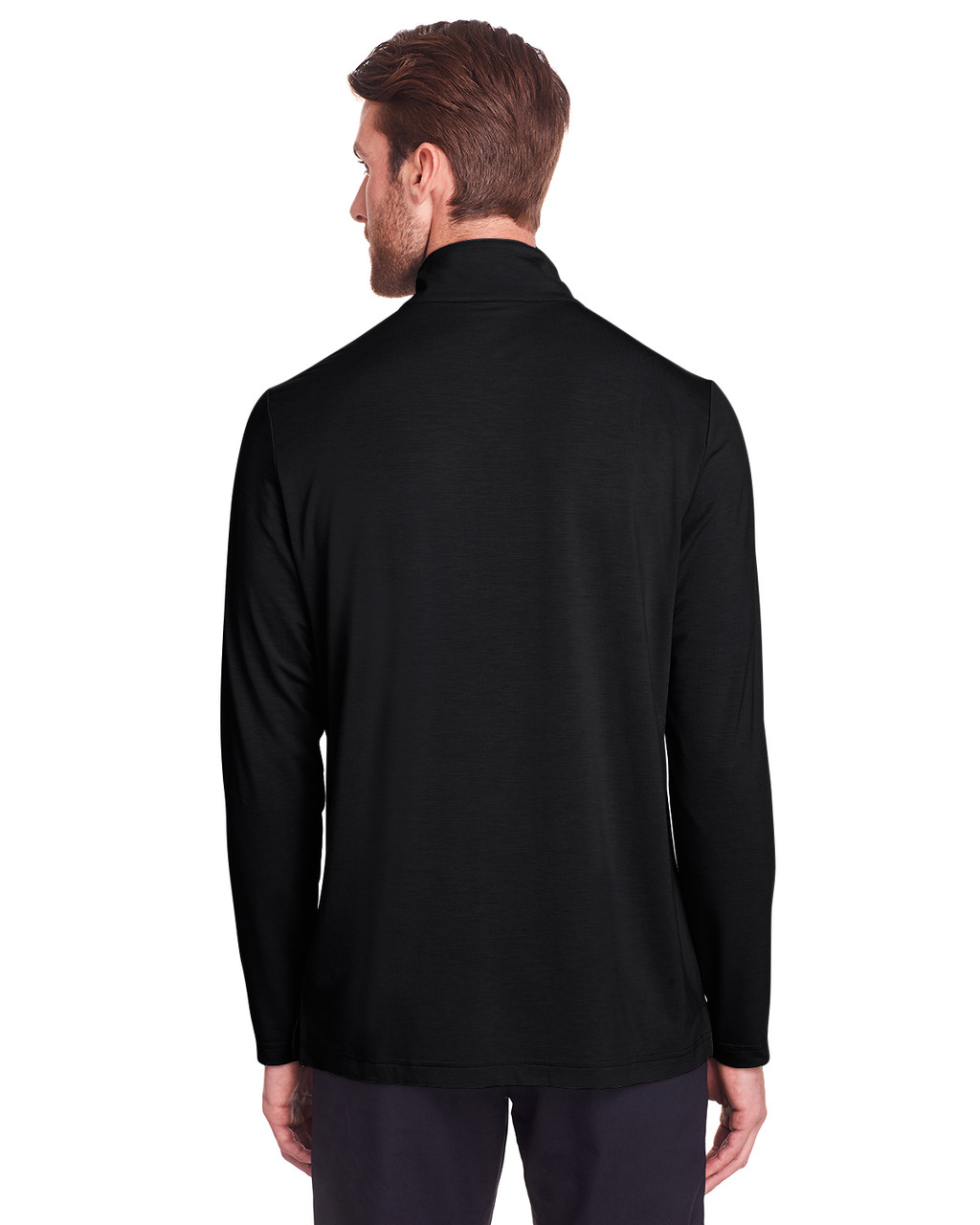 Black - Back,  NE400 North End Men's Jaq Snap-Up Stretch Performance Pullover Long Sleeve Shirt | BlankClothing.ca