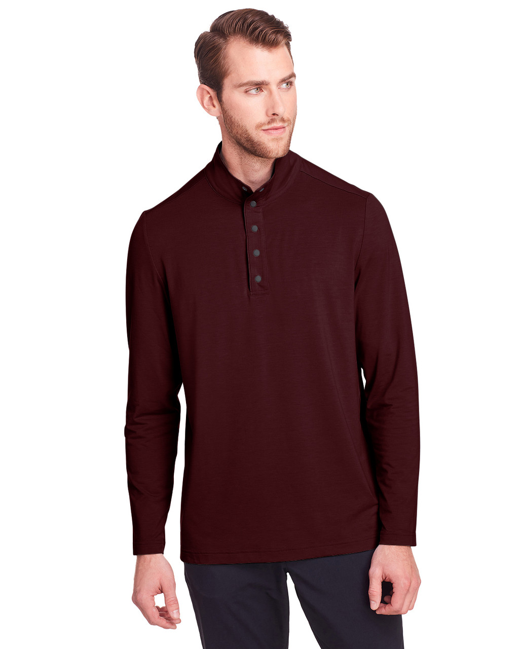Burgundy - NE400 North End Men's Jaq Snap-Up Stretch Performance Pullover Long Sleeve Shirt | BlankClothing.ca