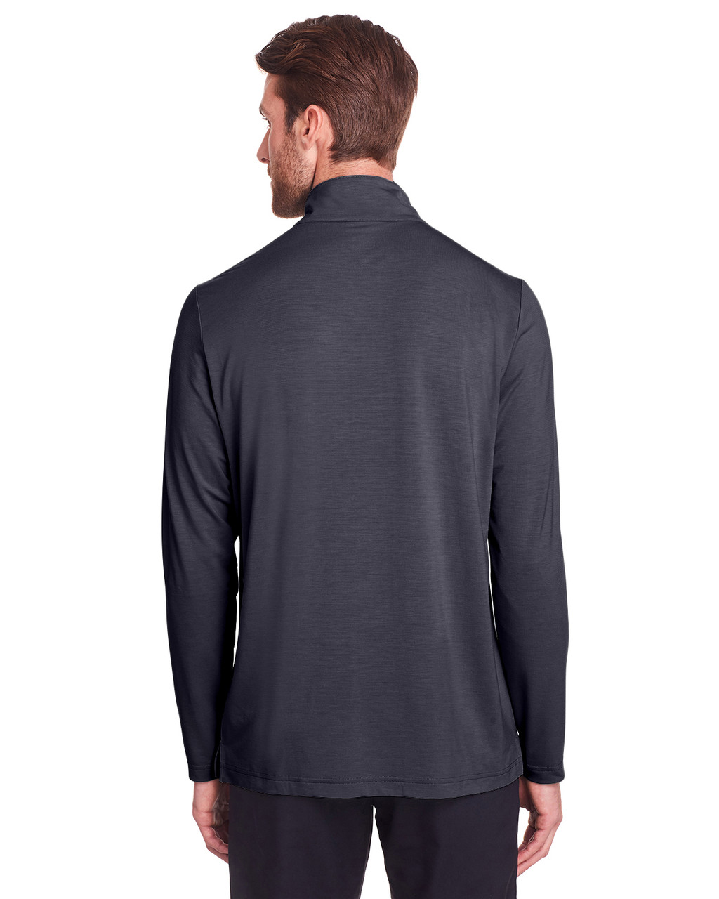 Carbon - Back, NE400 North End Men's Jaq Snap-Up Stretch Performance Pullover Long Sleeve Shirt | BlankClothing.ca