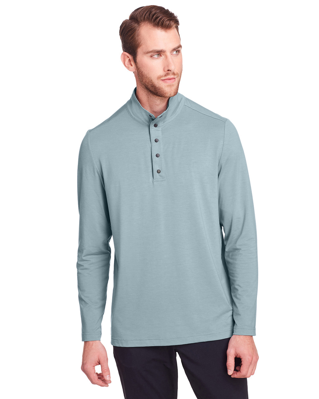 Opal Blue - NE400 North End Men's Jaq Snap-Up Stretch Performance Pullover Long Sleeve Shirt | BlankClothing.ca