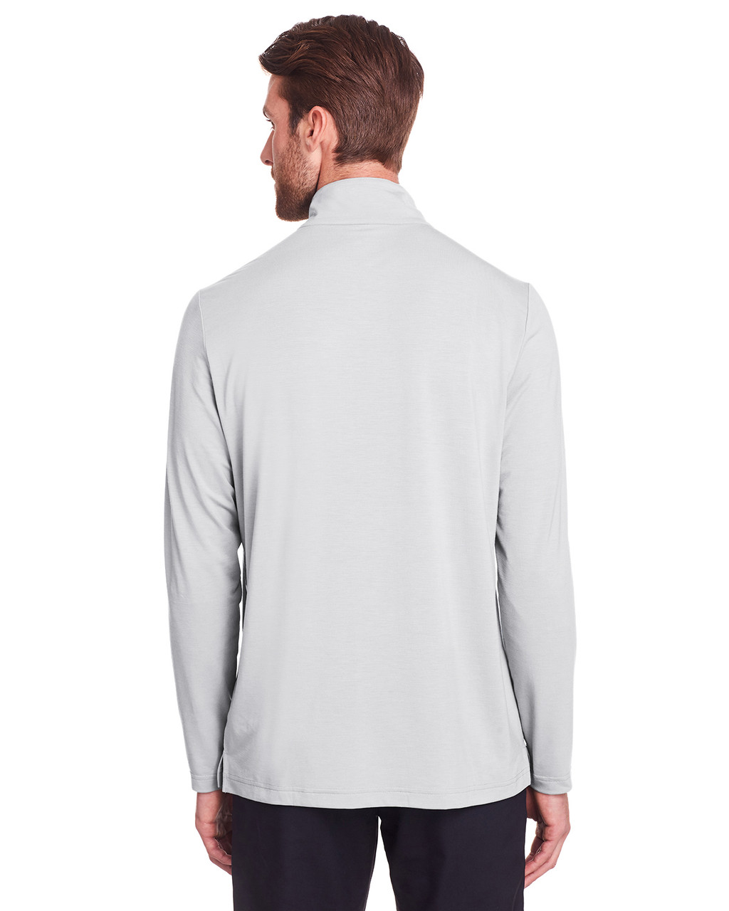 Platinum - Back, NE400 North End Men's Jaq Snap-Up Stretch Performance Pullover Long Sleeve Shirt | BlankClothing.ca