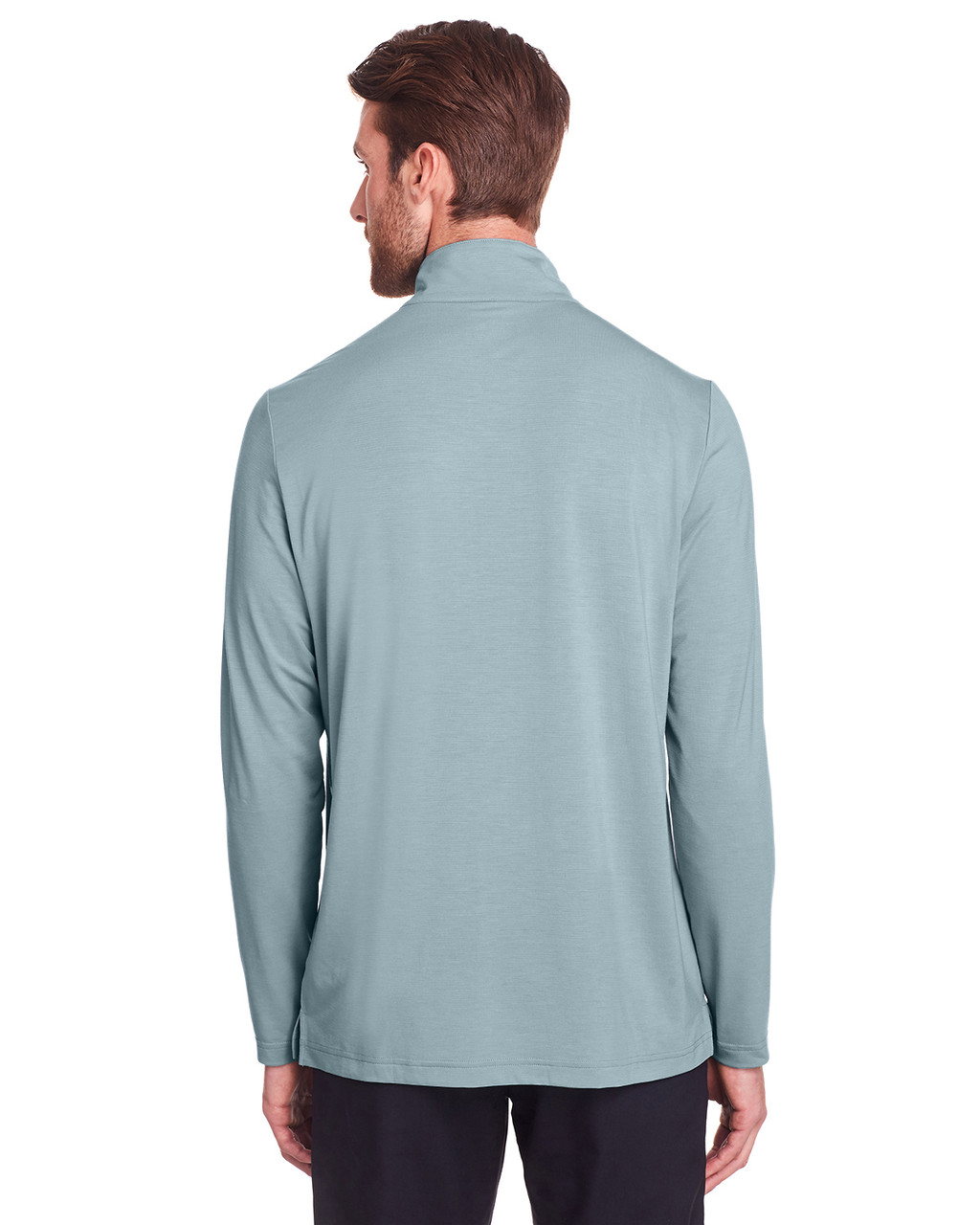 Opal Blue - Back, NE400 North End Men's Jaq Snap-Up Stretch Performance Pullover Long Sleeve Shirt | BlankClothing.ca