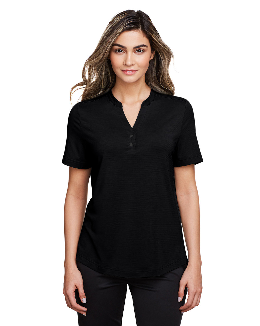 Black - NE100W North End Ladies' Jaq Snap-Up Stretch Performance Polo | BlankClothing.ca
