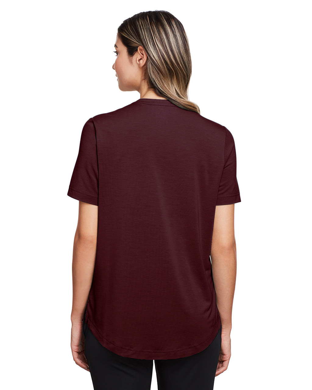 Burgundy - Back, NE100W North End Ladies' Jaq Snap-Up Stretch Performance Polo | BlankClothing.ca