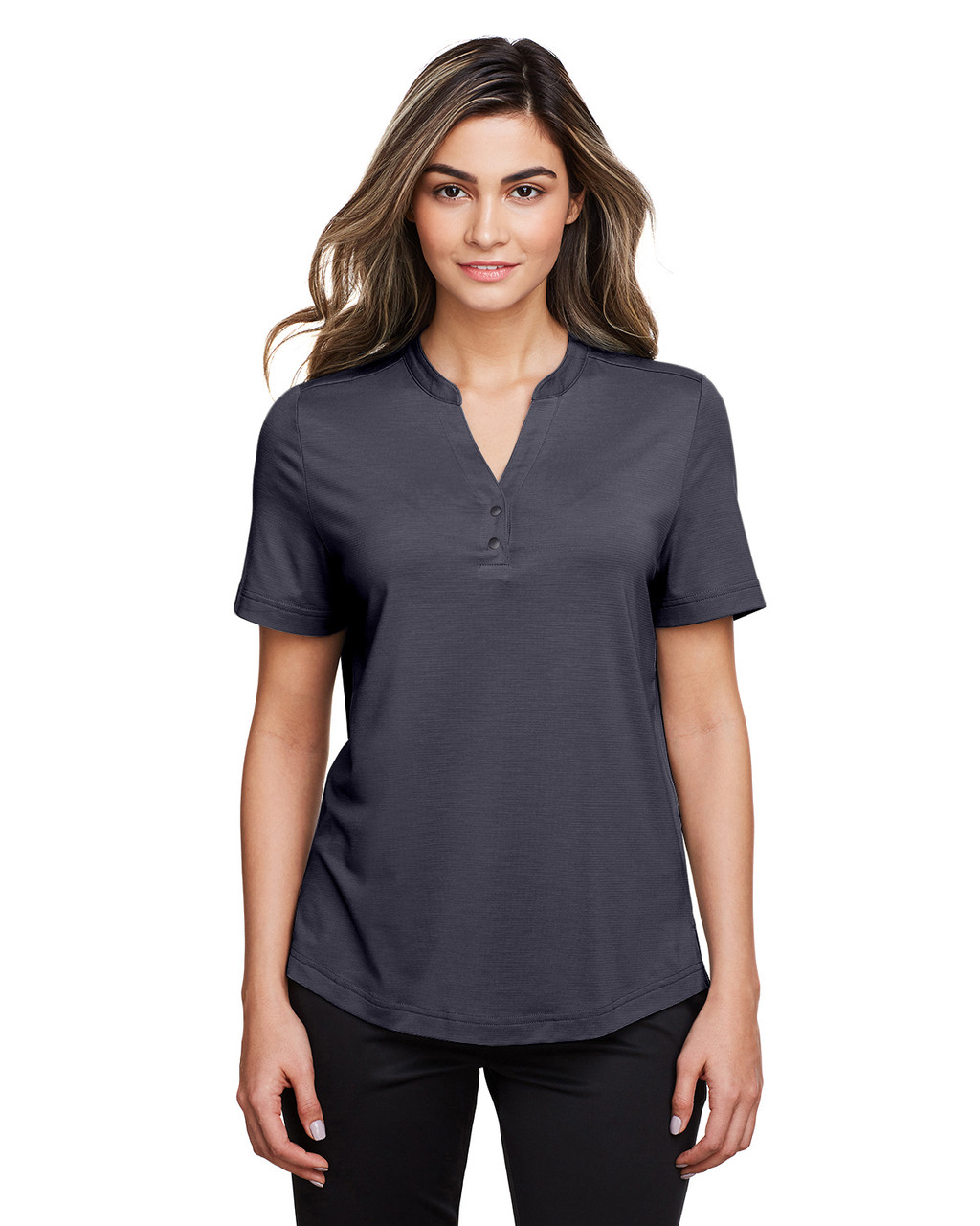 Carbon  - NE100W North End Ladies' Jaq Snap-Up Stretch Performance Polo | BlankClothing.ca