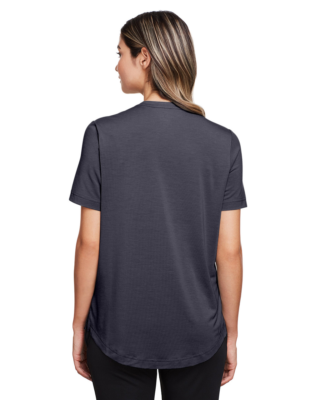 Carbon - Back, NE100W North End Ladies' Jaq Snap-Up Stretch Performance Polo | BlankClothing.ca