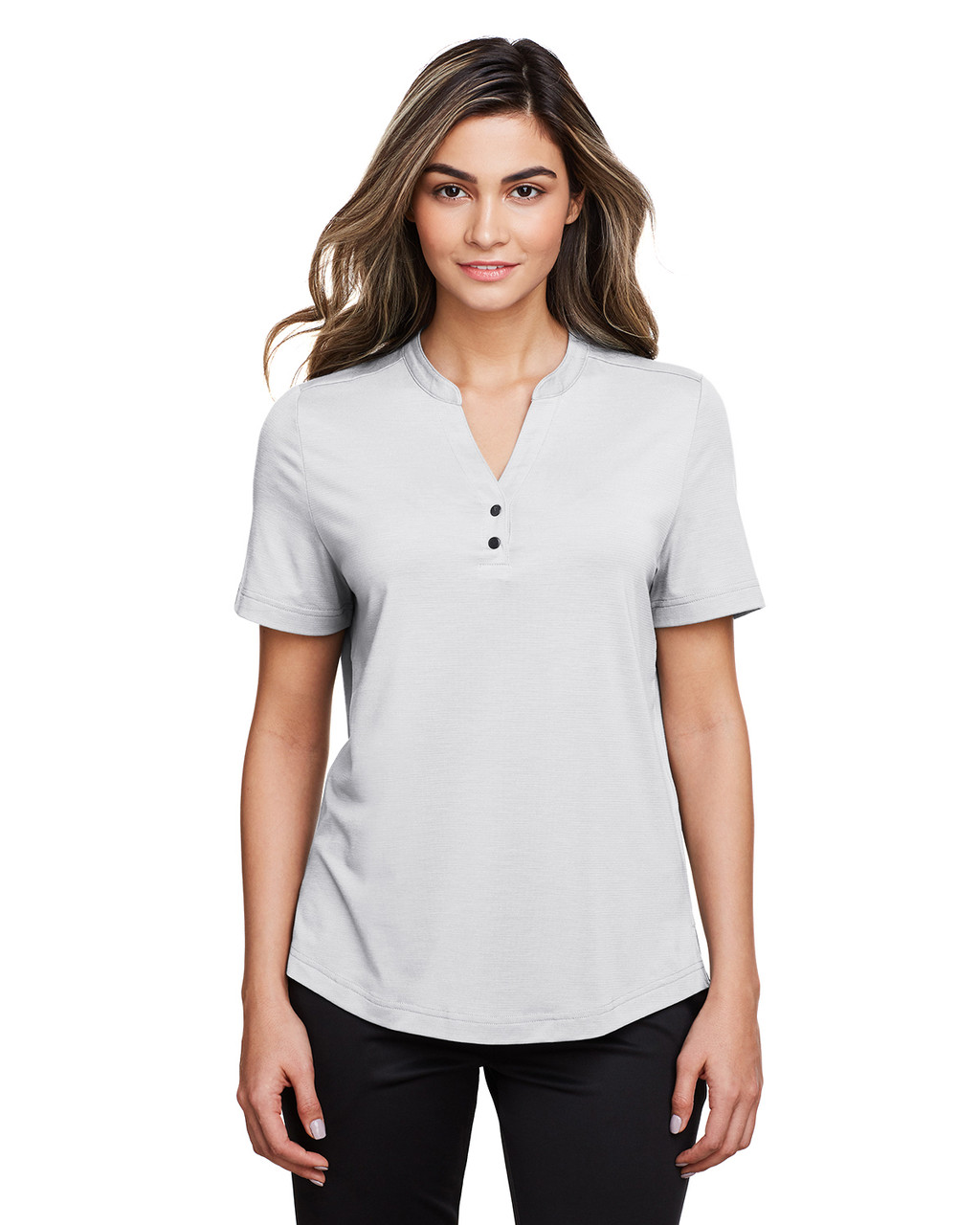 Platinum - NE100W North End Ladies' Jaq Snap-Up Stretch Performance Polo | BlankClothing.ca