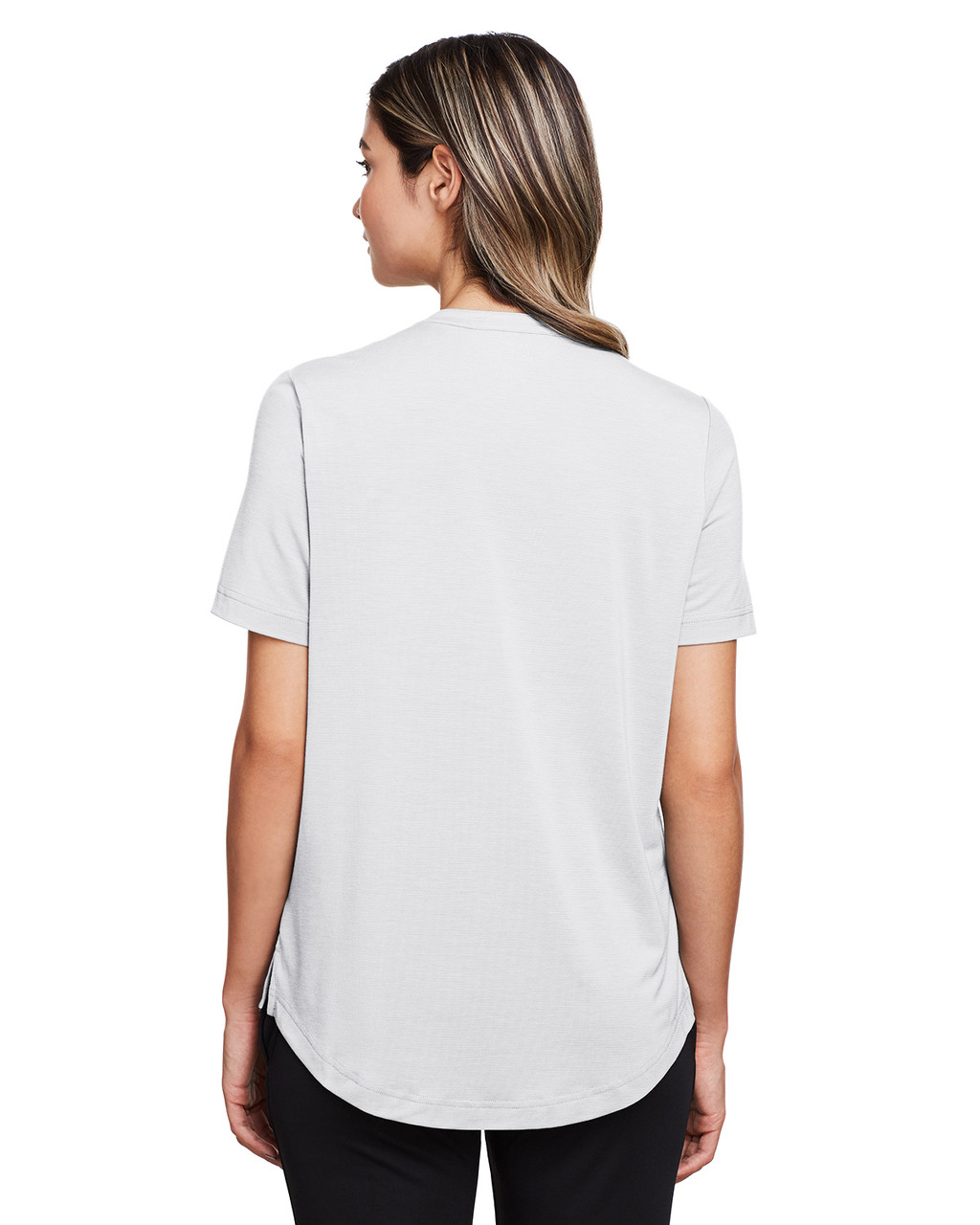 Platinum - Back, NE100W North End Ladies' Jaq Snap-Up Stretch Performance Polo | BlankClothing.ca
