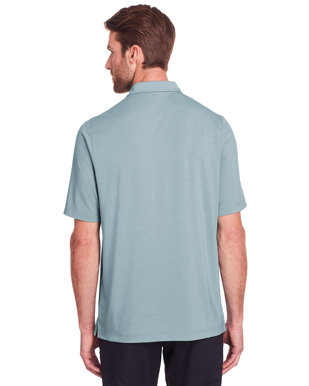 Opal Blue - Back, NE100 North End Men's Jaq Snap-Up Stretch Performance Polo | BlankClothing.ca