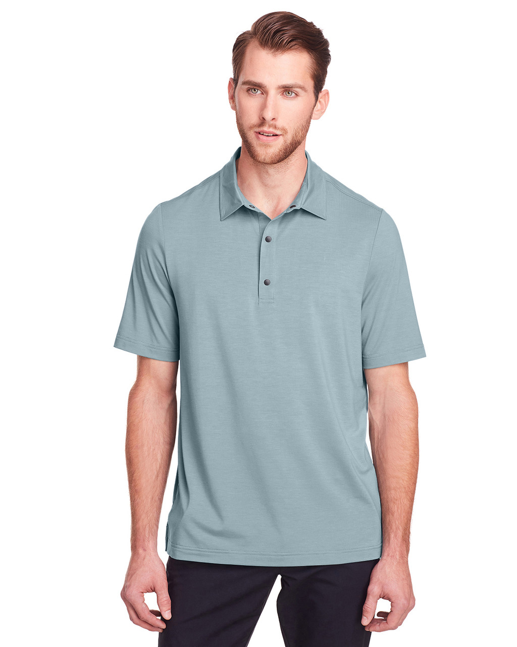 Opal Blue - NE100 North End Men's Jaq Snap-Up Stretch Performance Polo | BlankClothing.ca