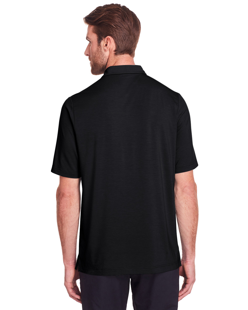 Black - Back, NE100 North End Men's Jaq Snap-Up Stretch Performance Polo | BlankClothing.ca