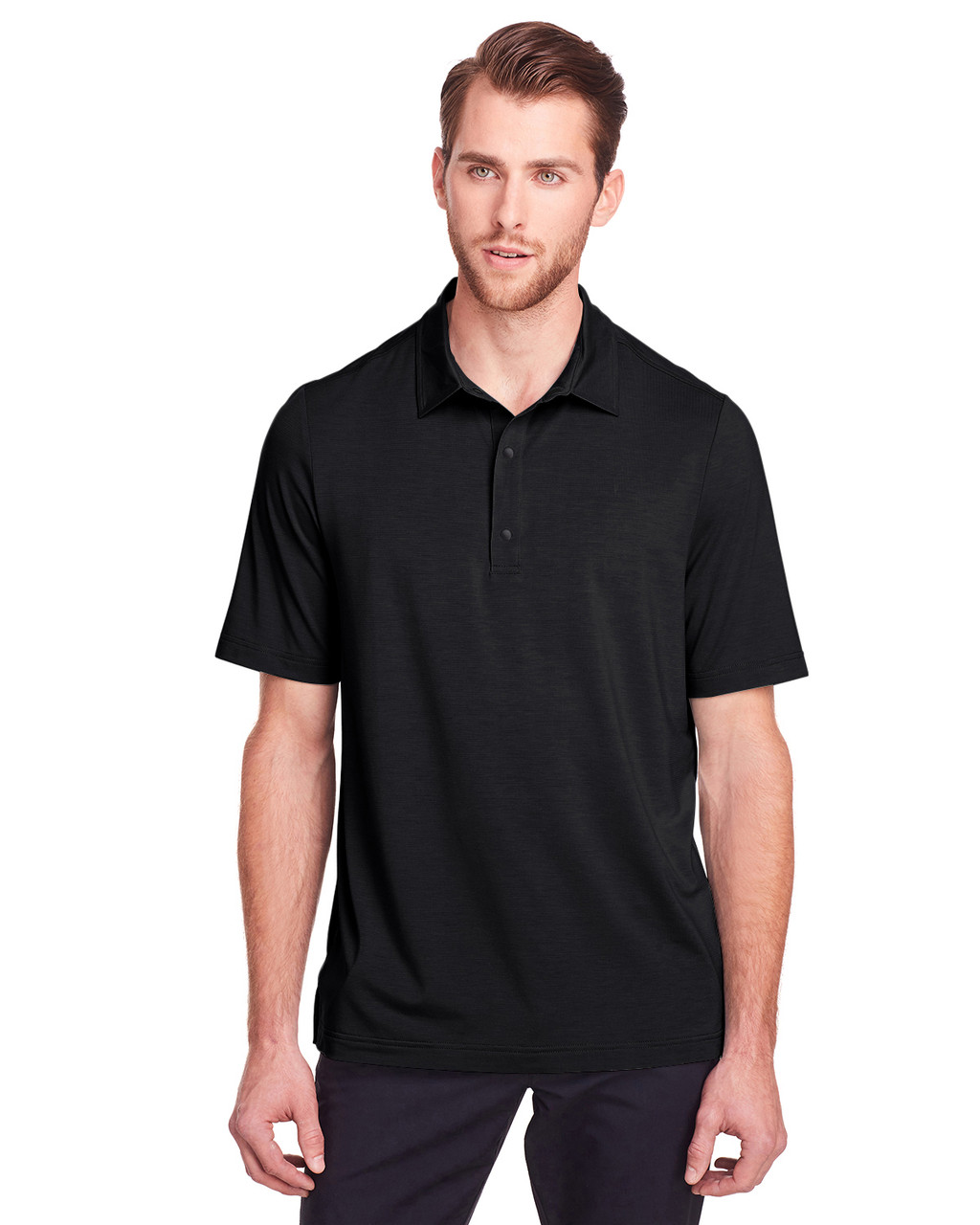 Black - NE100 North End Men's Jaq Snap-Up Stretch Performance Polo | BlankClothing.ca
