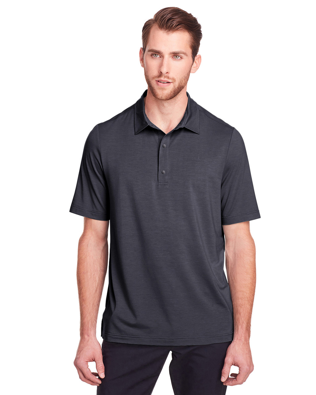 Carbon - NE100 North End Men's Jaq Snap-Up Stretch Performance Polo | BlankClothing.ca