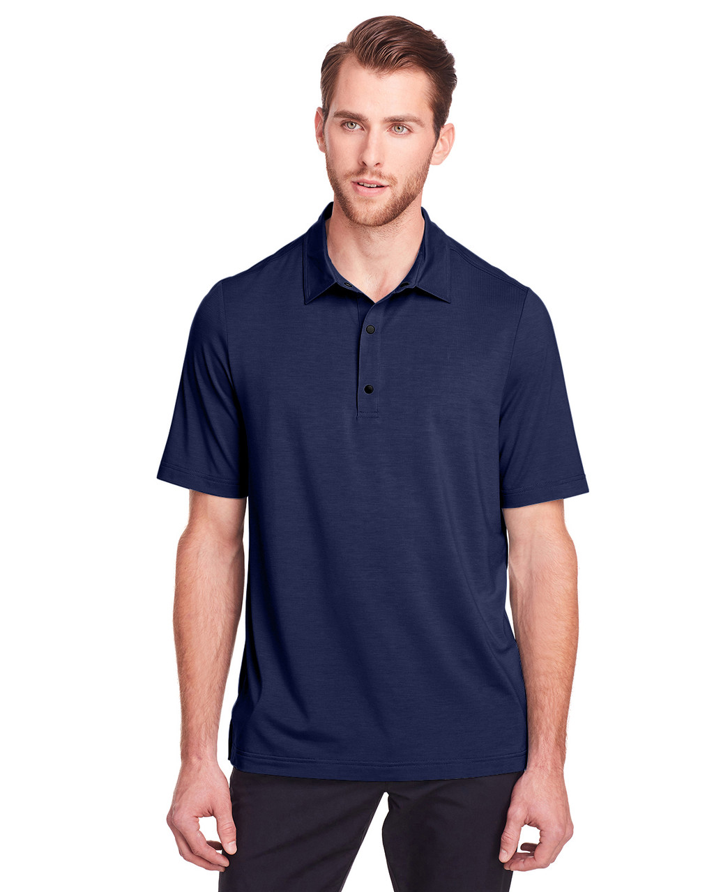 Classic Navy - NE100 North End Men's Jaq Snap-Up Stretch Performance Polo | BlankClothing.ca