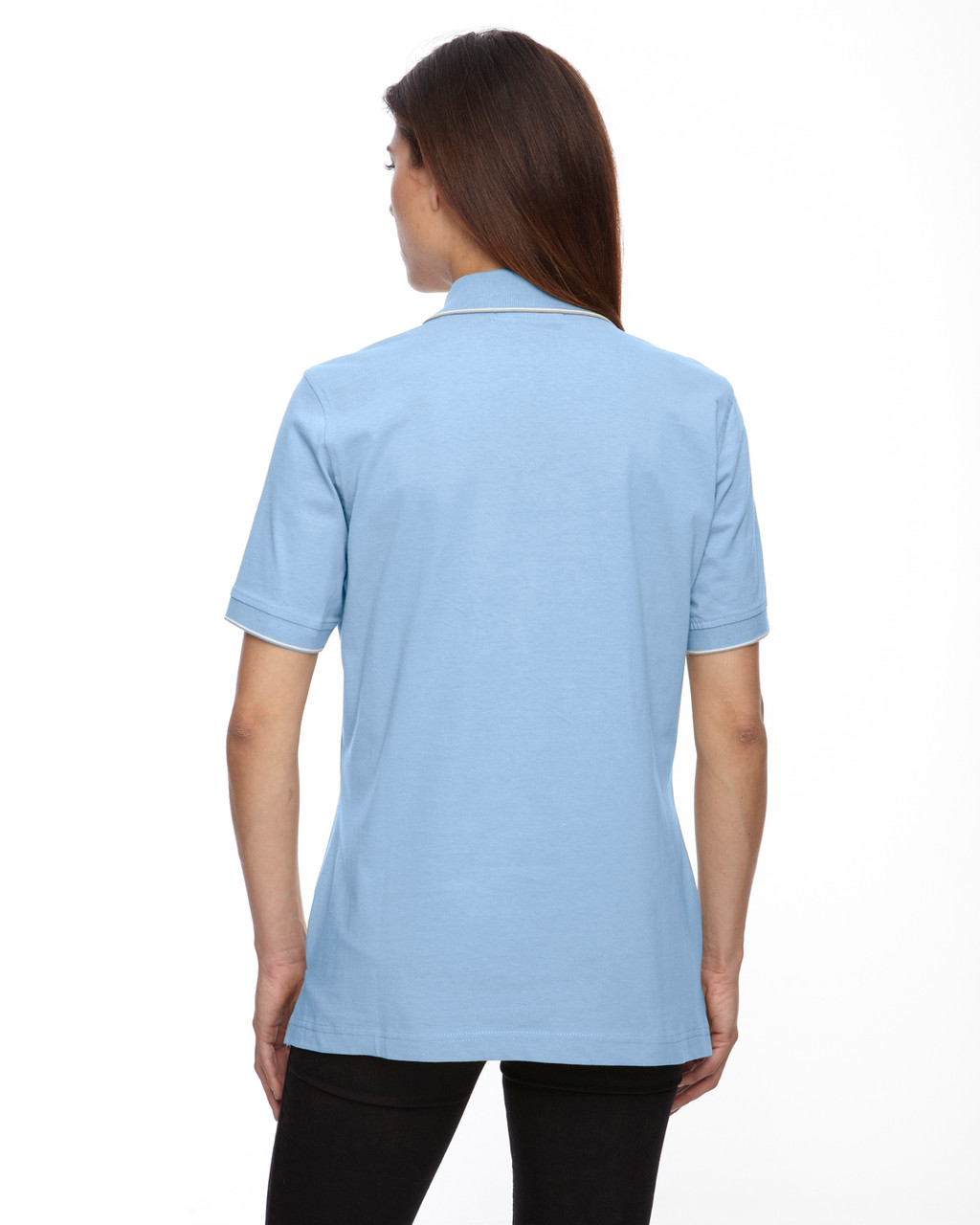 Powder Blue - Back, 75009 Extreme Ladies' Cotton Jersey Polo | BlankClothing.ca