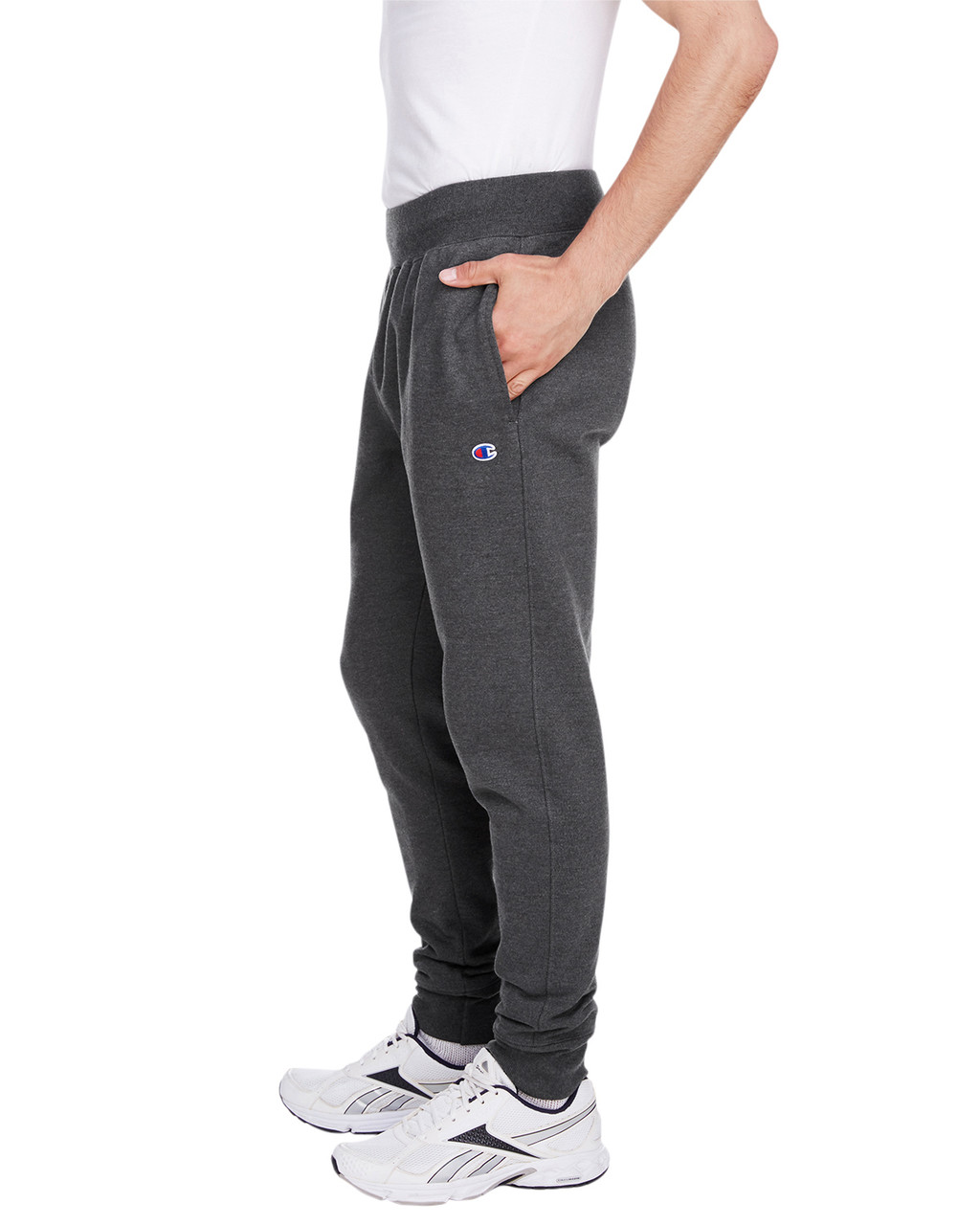 Charcoal Heather - Side, RW25 Champion Men's Reverse Weave Jogger Pant | BlankClothing.ca