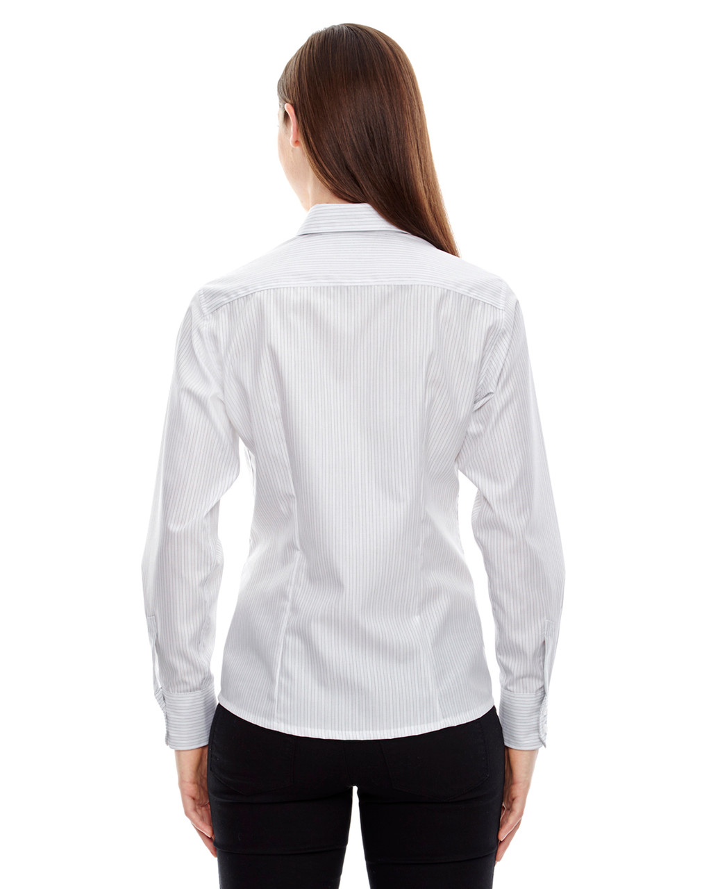 White - Back, 78674 North End Ladies' Boardwalk Wrinkle-Free Two-Ply 80's Cotton Striped Tape Shirt | BlankClothing.ca