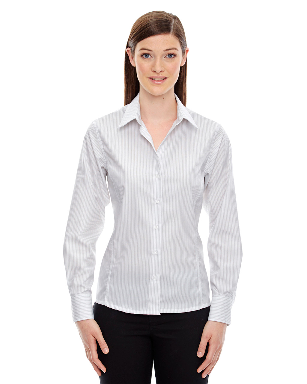 White - 78674 North End Ladies' Boardwalk Wrinkle-Free Two-Ply 80's Cotton Striped Tape Shirt | BlankClothing.ca