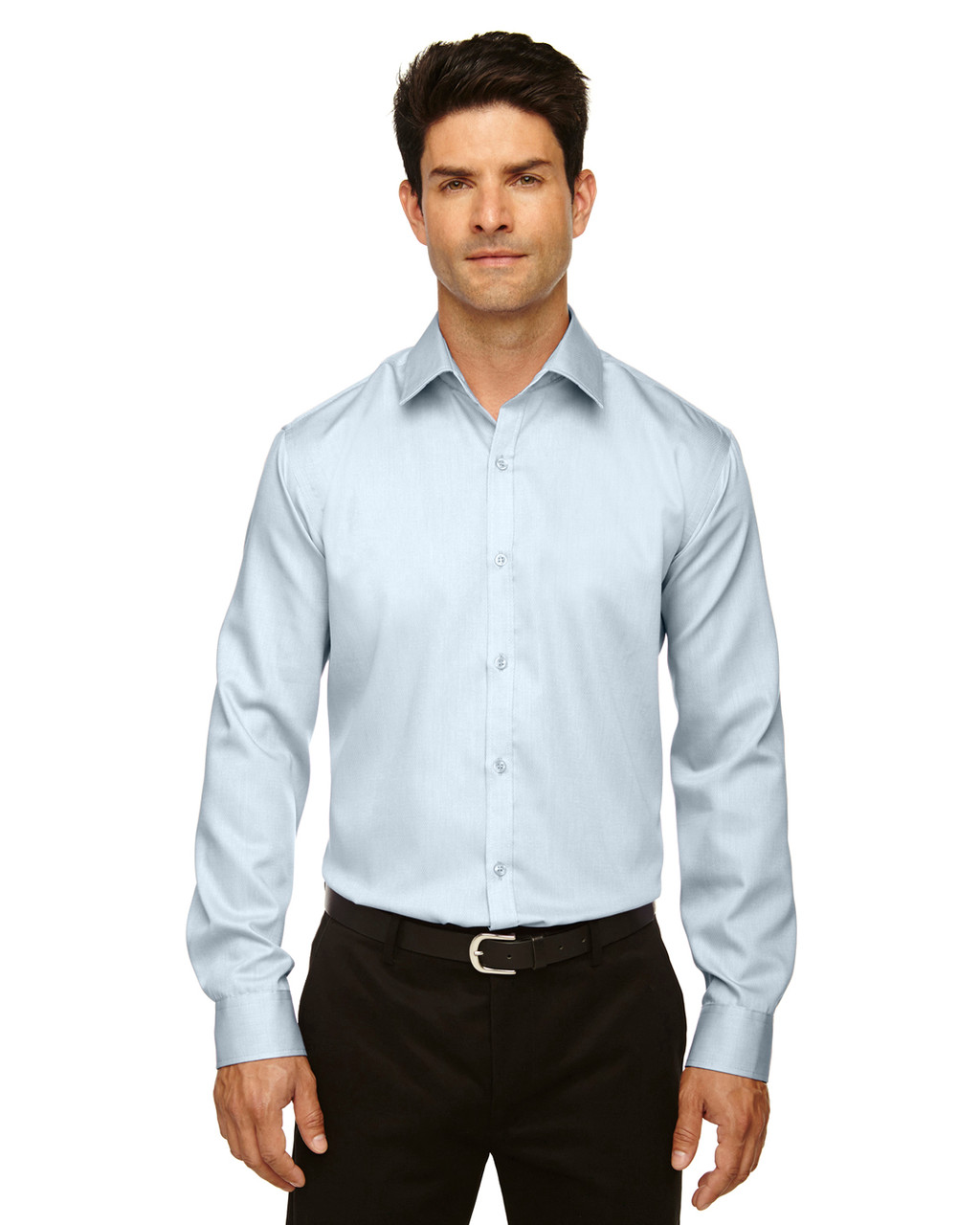 Cool Blue - 88673 North End Men's Boulevard Wrinkle-Free Two-Ply 80's Cotton Dobby Taped Shirt with Oxford Twill | BlankClothing.ca