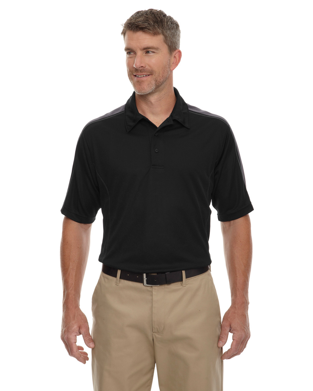 Black - 85089 Extreme Men's Eperformance Pique Color-Block Polo Shirt | BlankClothing.ca