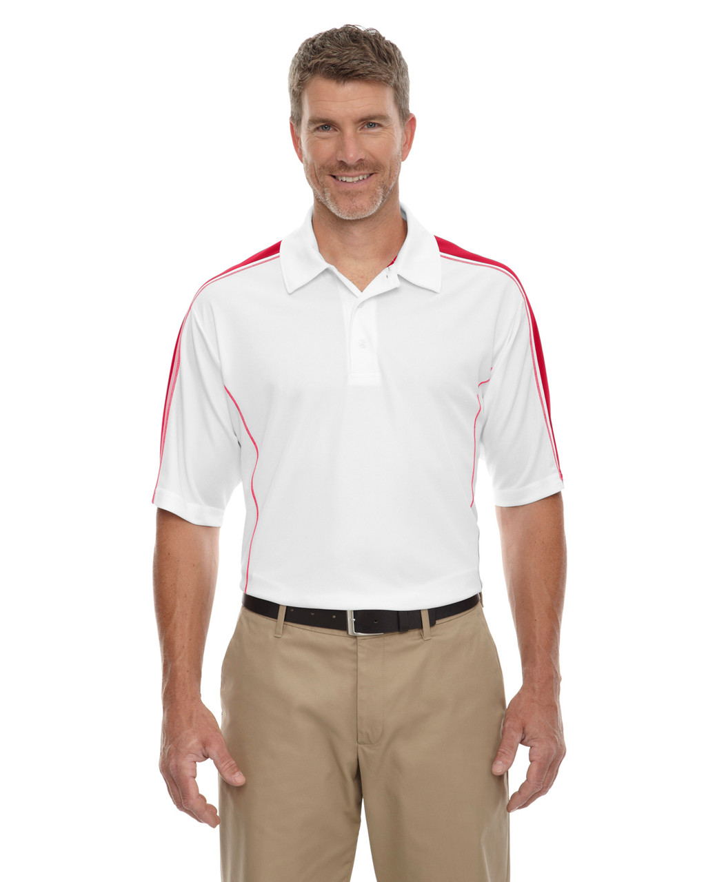 White/ Classic Red - 85089 Extreme Men's Eperformance Pique Color-Block Polo Shirt | BlankClothing.ca