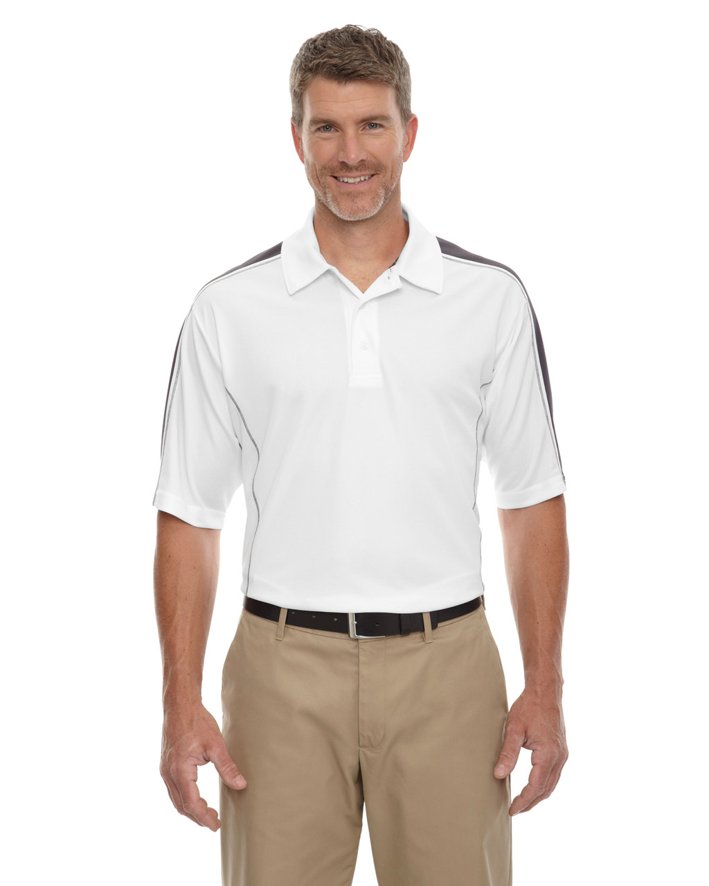 White/ Black Silk - 85089 Extreme Men's Eperformance Pique Color-Block Polo Shirt | BlankClothing.ca