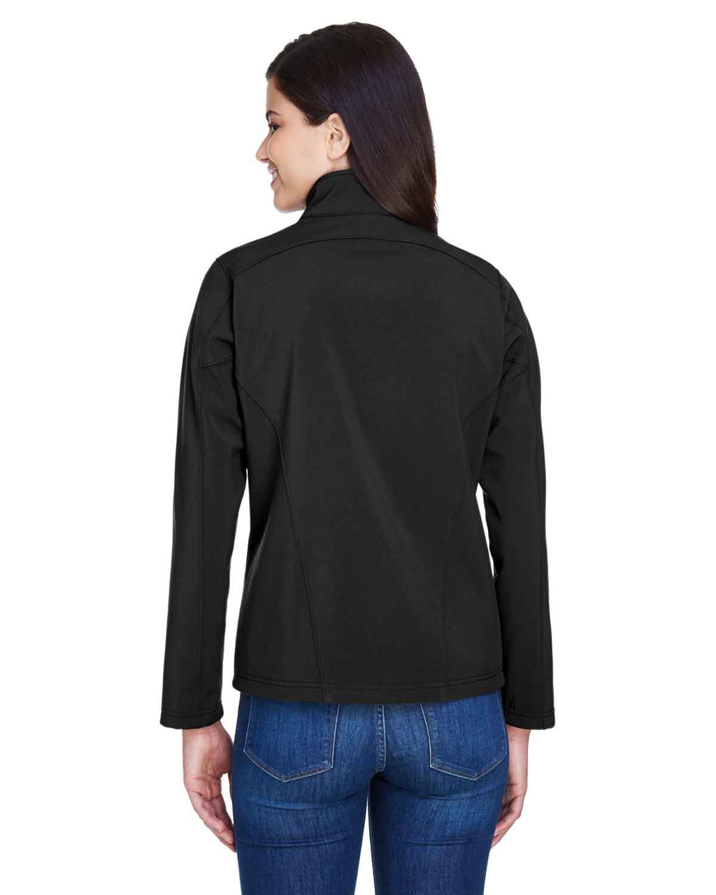 Black - Back, 78184 Core 365 Ladies' Fleece Soft Shell Jacket | Blankclothing.ca
