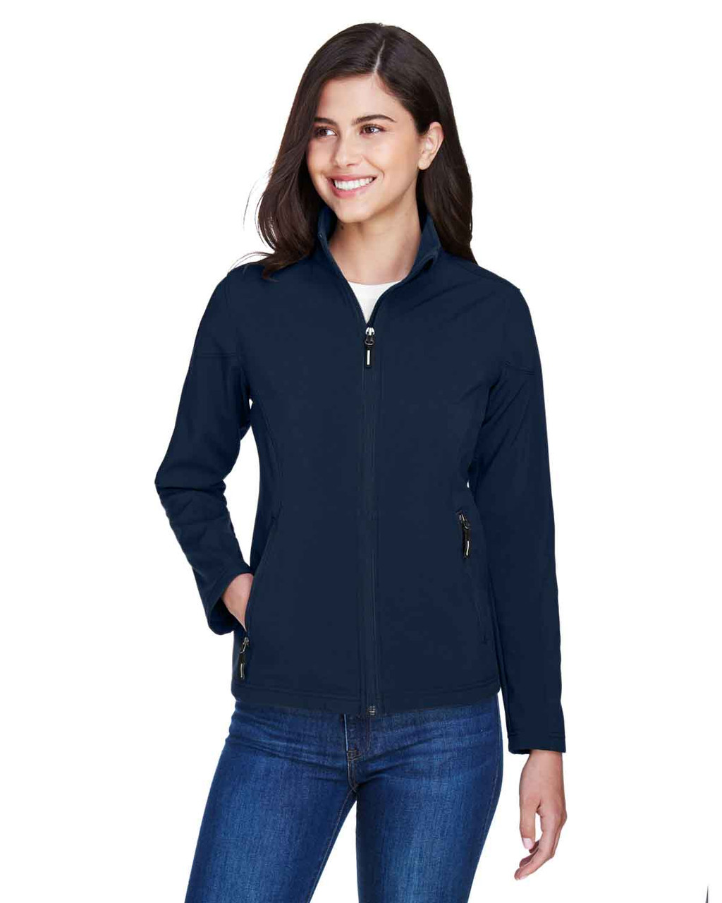 Classic Navy - 78184 Core 365 Ladies' Fleece Soft Shell Jacket | Blankclothing.ca