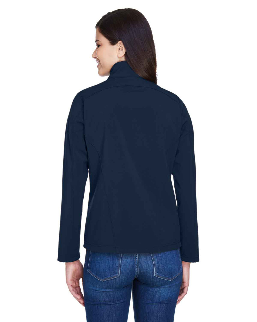 Classic Navy - Back, 78184 Core 365 Ladies' Fleece Soft Shell Jacket | Blankclothing.ca