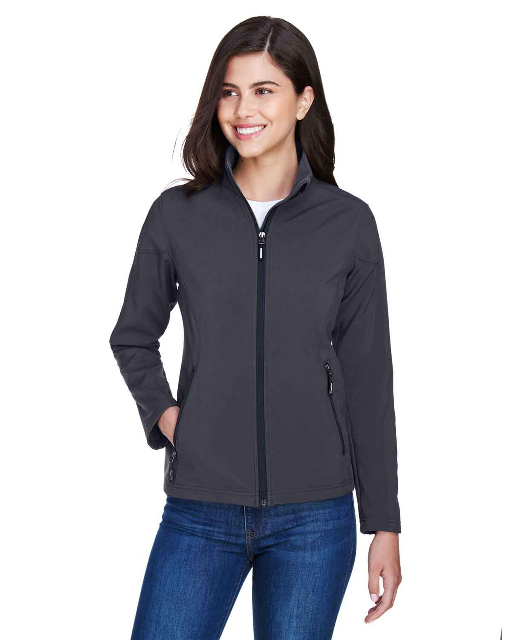Carbon - 78184 Core 365 Ladies' Fleece Soft Shell Jacket | Blankclothing.ca