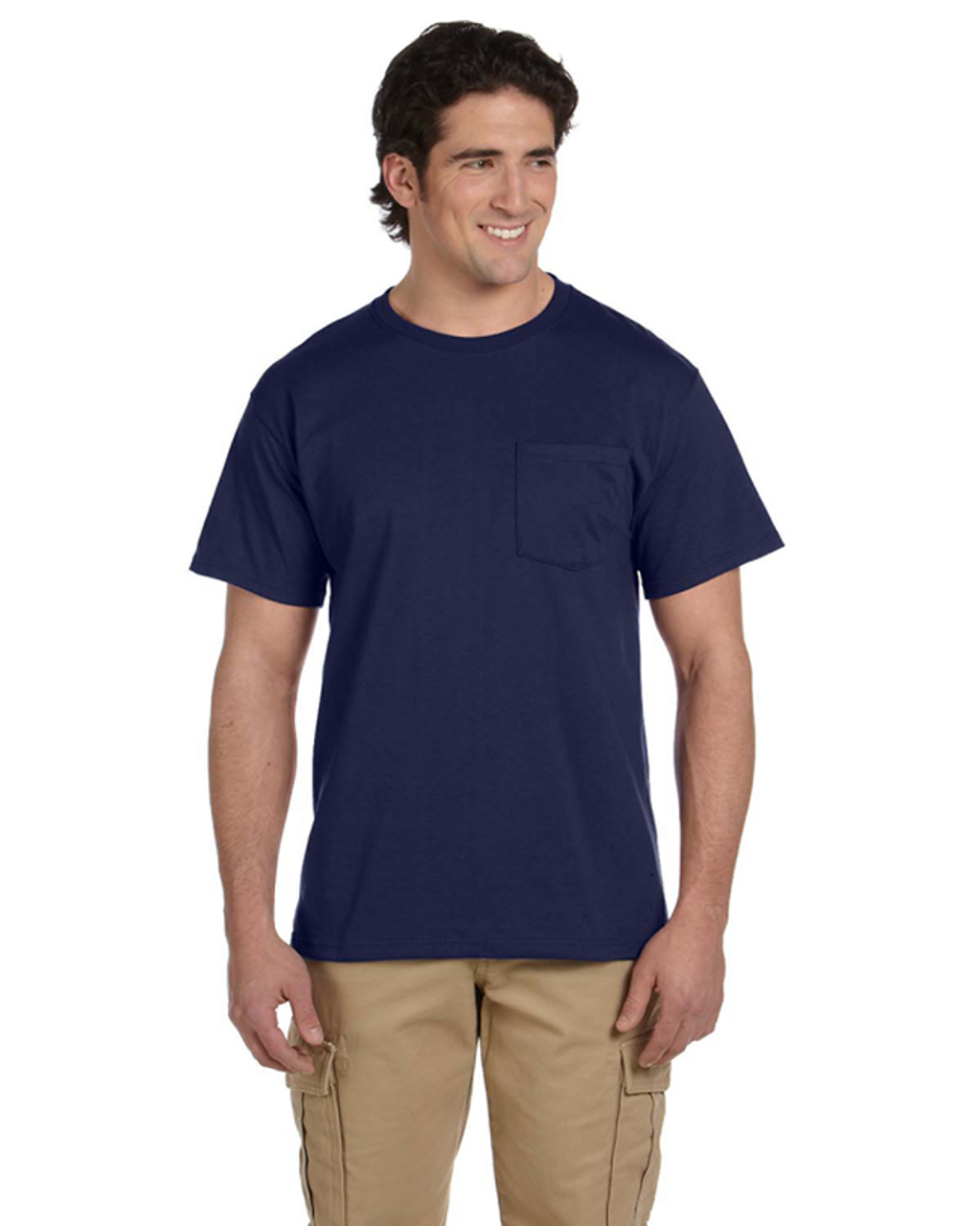J Navy - 29P Jerzees 50/50 Heavyweight Blend™ Pocket T-Shirt | Blankclothing.ca