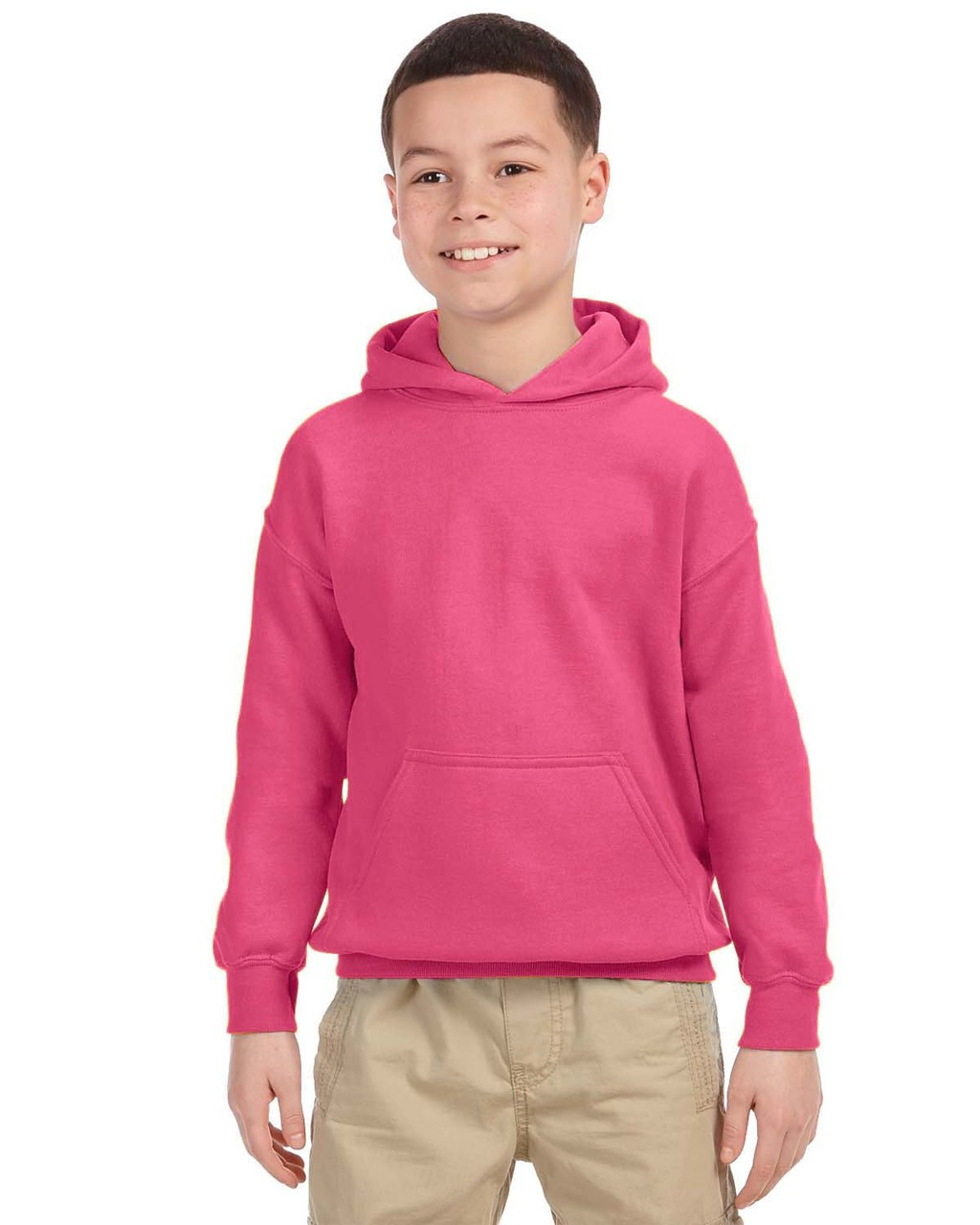 Safety Pink - G185B Gildan Heavy Blend Youth 50/50 Hoodie | Blankclothing.ca