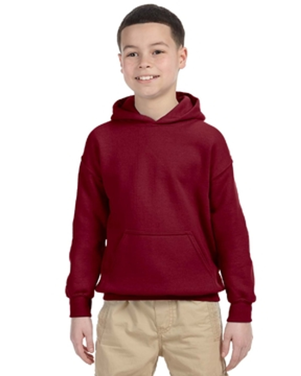 Maroon - G185B Gildan Heavy Blend Youth 50/50 Hoodie | Blankclothing.ca