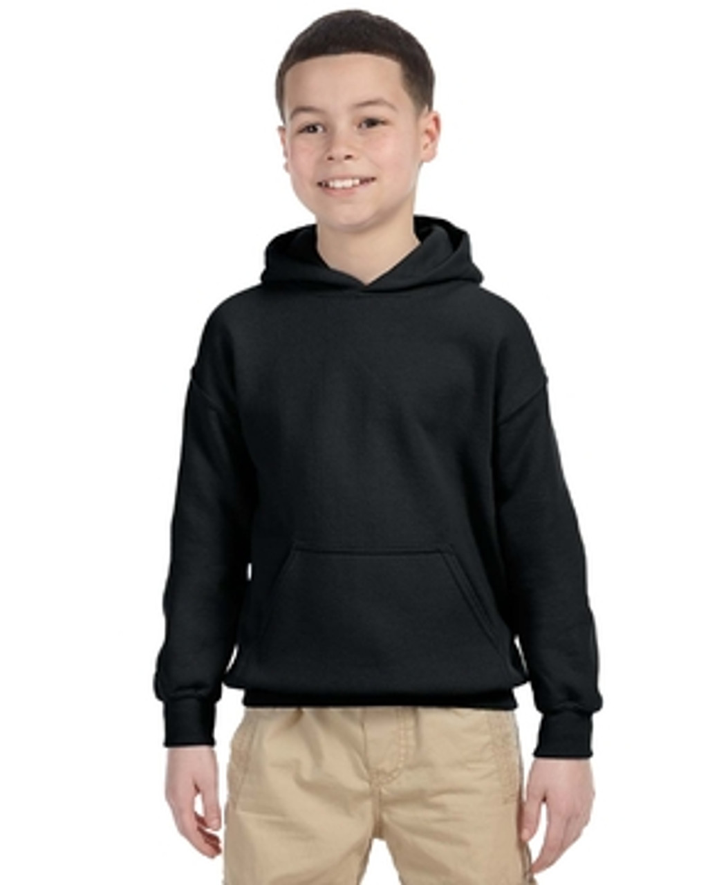 Black - G185B Gildan Heavy Blend Youth 50/50 Hoodie | Blankclothing.ca