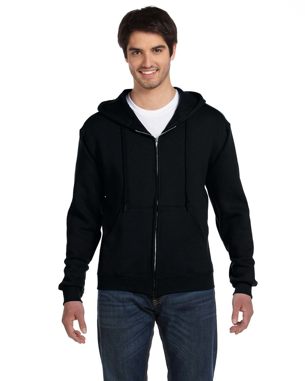 Black - 82230 Fruit of the Loom Supercotton™ Full-Zip Hoodie | Blankclothing.ca