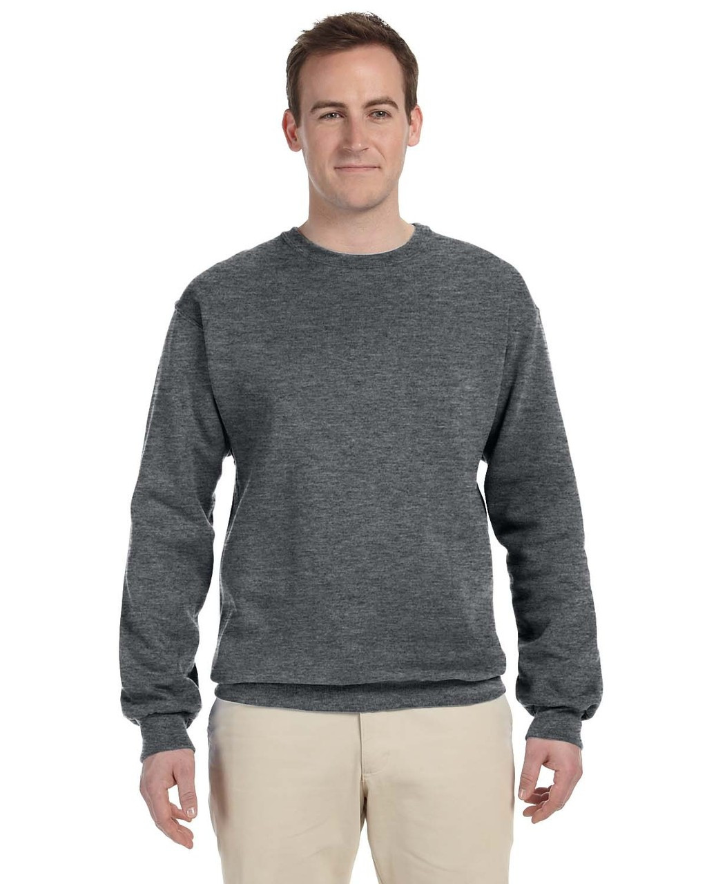 Athletic Heather - 82300 Fruit of the Loom Supercotton™ Fleece Crew Sweater | Blankclothing.ca