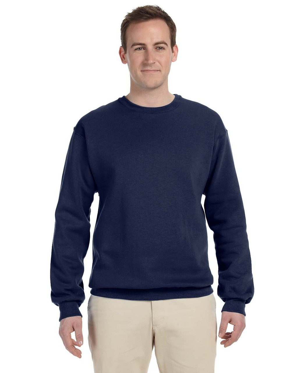 J. Navy 82300 Fruit of the Loom Supercotton™ Fleece Crew Sweater | Blankclothing.ca