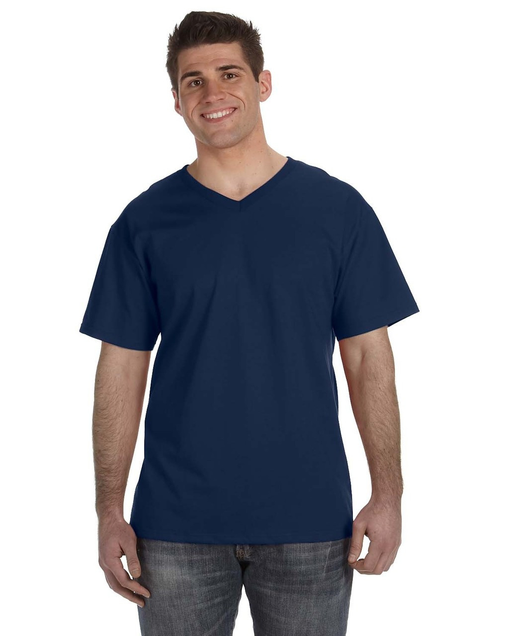 J. Navy - 39VR Fruit of the Loom 100% Heavy Cotton HD® V-Neck T-Shirt | Blankclothing.ca