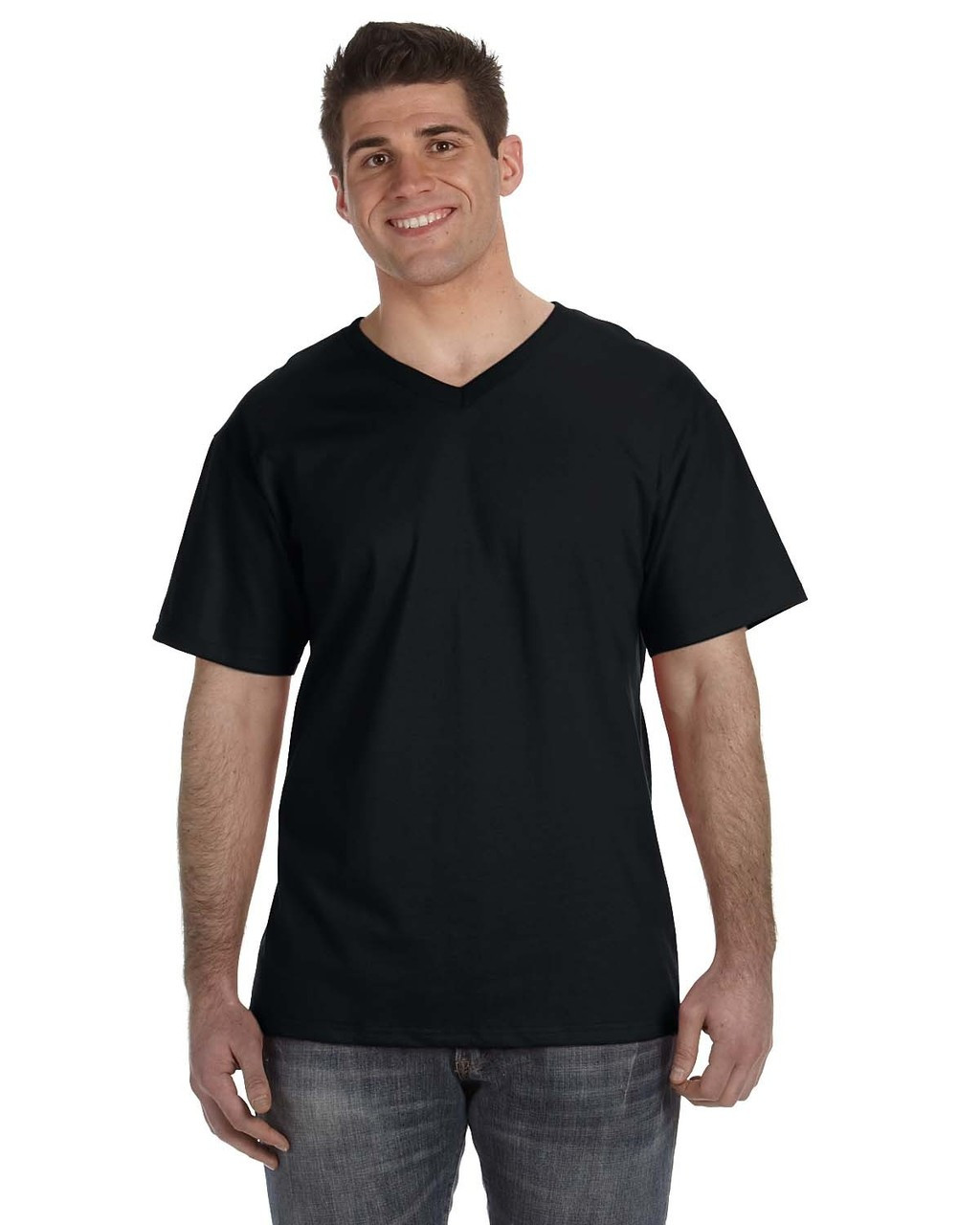 Black - 39VR Fruit of the Loom 100% Heavy Cotton HD® V-Neck T-Shirt | Blankclothing.ca